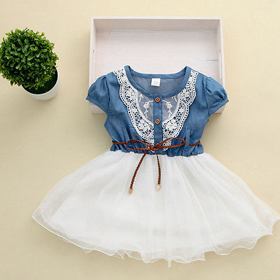 2015 Princess Girls Baby Kids Party Lace Dress With Leather Belt Denim Tops Tulle Gown Dresses 1-6Y 2017 hot new princess dress baby girls summer gown lace party dresses cute my little girl kids dresses 1 6y