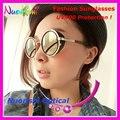 2817 Moda Retro Rodada óculos de Sol da Forma com Tampa de couro e proteção UV400 óculos de Sol Do Vintage