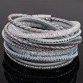 Doble envoltura de cuero pulseras de diamantes de imitación de cristal de múltiples capas de cuero trenzado doble pulseras B1533