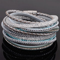 Double wrap leather rhinestone  bracelets crystal multilayer braided leather double bracelets B1533