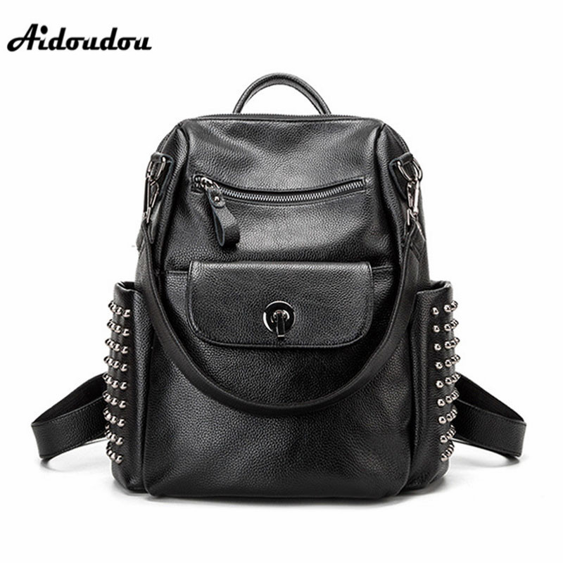 AIDOUDOU New Women Backpack Famous Brand Rivet Travel Shoulders Bags Splity Leather Backpacks School Bag Soft