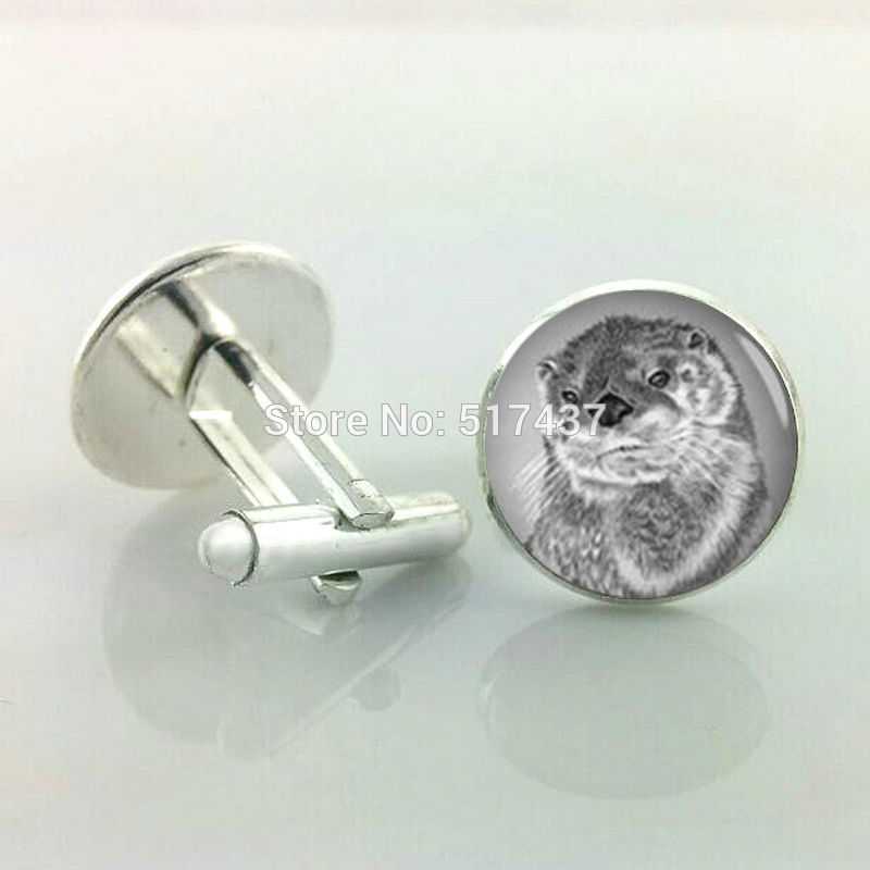 1 pair New Fashion Otter Cufflinks Gifts For Men Cufflinks High Quality Brand Custom Cuff Links