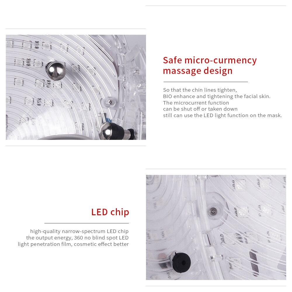 LED Masque Pour Le Visage Cou EMS Micro-courant Anti Rides Acné Retrait Rajeunissement de La Peau Électrique Du Visage Machine De Beauté - 4