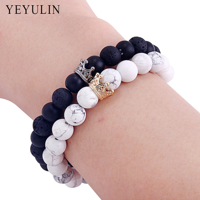 0023642699a67 US $2.71 32% OFF|New Arrival Gold Silver Color Alloy Crown Black White  Stone Beads Bracelet Couple Jewelry For Women Men Bangles-in Strand  Bracelets ...