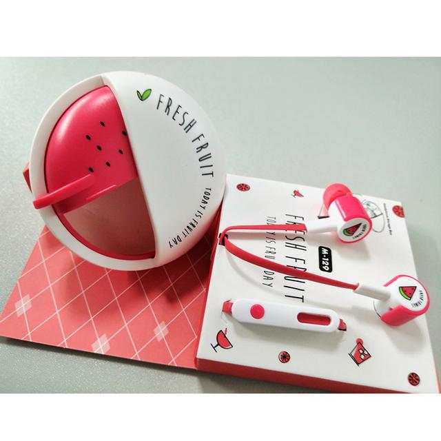 Cartoon Fruit Watermelon Earphones Cute Girl Earbuds With Micro Storage Box For Mobile Phone Kids Child Call ipad Gifts Earphone