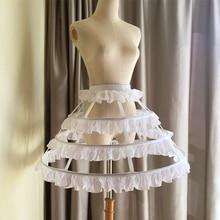 Lolita Pendek Rok Underskirt 45 CM Panjang Pinggang Menyesuaikan 3 Lapisan Hoop Ruffle Garis Wanita Pernikahan Hadiah Kasual Pett ...