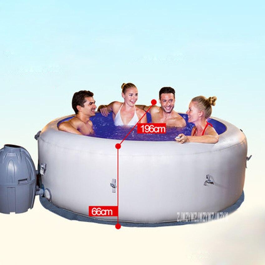 Baignoire gonflable 196*66cm ronde adulte baignoire Portable salle de bain famille Spa piscine 806L 220V 2060W avec 7 couleurs lumière LED - 2