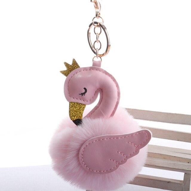 Pompons bonito Cisne Chaveiros Para A Mulher Saco Carro Chaveiro Bola de Pêlo de Coelho De Pelúcia Fofo Flamingo Chaveiro Pingente de Presente Da Jóia