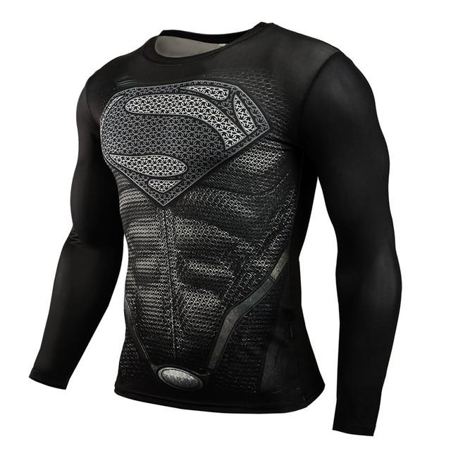 Superhero Superman preto de Manga Longa de Impressão 3D T Camisa do Exercício Da Aptidão Homens Camisa Skintight Top Shirt Da Bicicleta Jersey