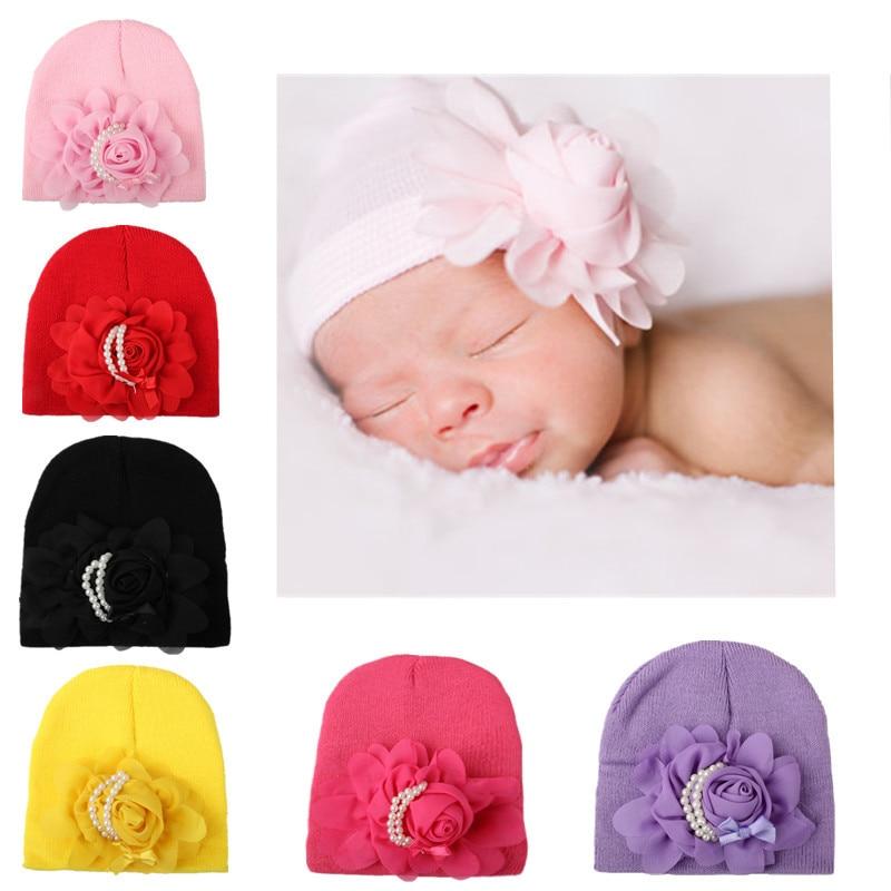 Perla Linda bebé Niñas flor gorros para recién nacido que hace punto ...