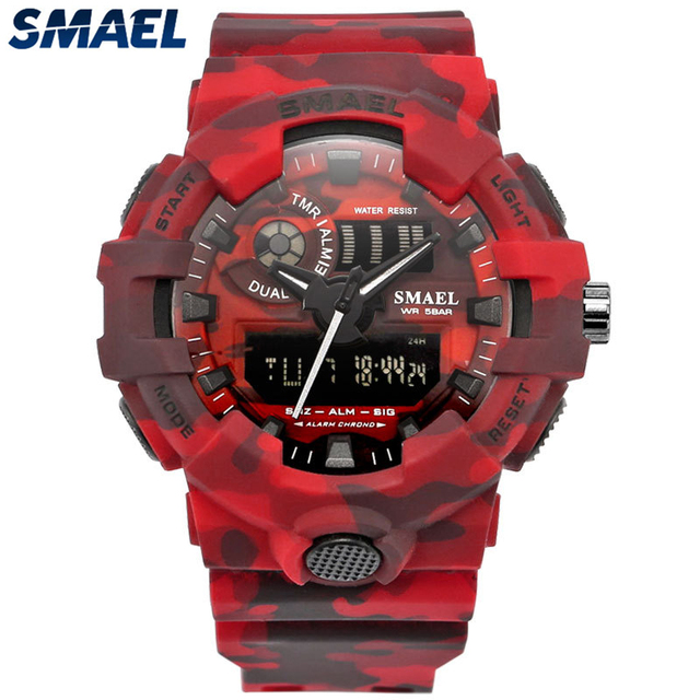 SMAEL Brand Fashion Camouflage Military Digital Quartz Watch Men Waterproof Shock Outdoor Sports Watches Mens Relogio Masculino