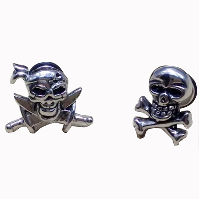 2 Pieces Punk Rock Pirate Skull Stainless Steel Stud Earring Men Wing Earrings Knife Skulls