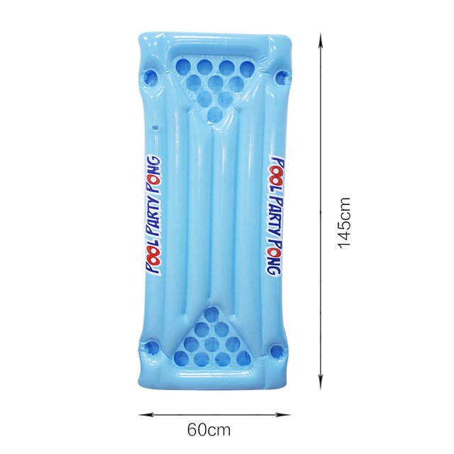 2018 New Hot Summer Water Party Fun Air Mattress Ice Bucket Cooler 145cm 24 Cup Holder PVC Inflatable Beer Pong Table Pool Float 5