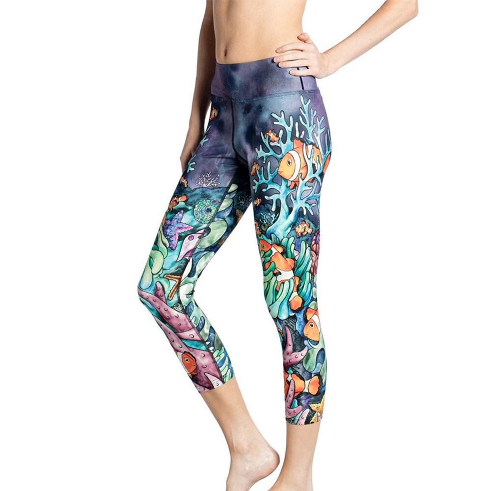 Brand Ocean World Print Yoga Pants Women High Waist
