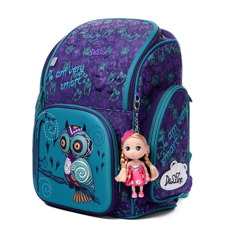 Delune Brand 3D Bear Owl Pattern School Bags For Girls Boys Children Orthopedic Backpacks Primary Book Backpack Mochila Infantil in School Bags from Luggage Bags