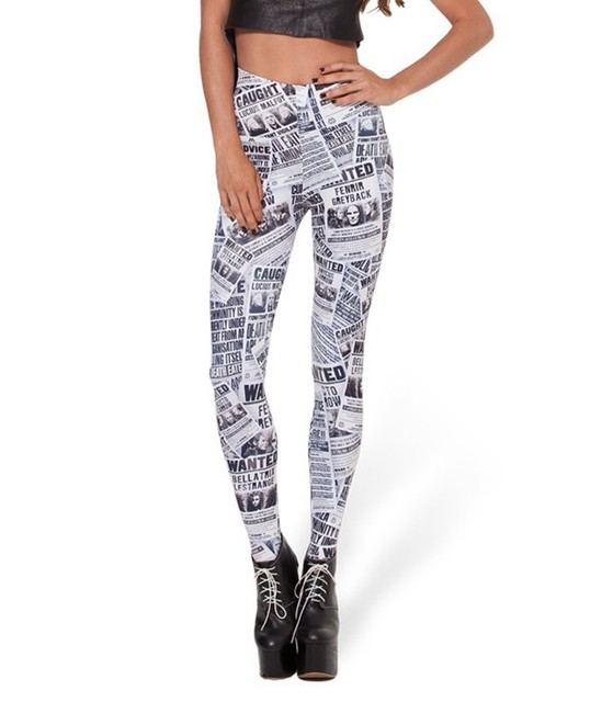 3642fea107 Punk Harry Potter Newspaper Leggings Printing Quality Fabrics Slim Sexy Hip  Pants Fashion Fitness Clothing For Women Clothes D36