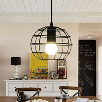 DVOLADOR Black Cord Iron Pendant Lamps Lights Europe Style Hanging Pendant Lighting Fixtures E27 AC220V Indoor