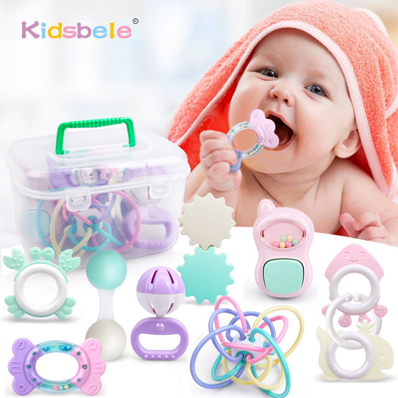 9PCS Rattle Baby Toys 0-12 Months Jingle Shaking Bell Infant Toys For Newborns Rattles Teether Grip Handbell Toy With Box