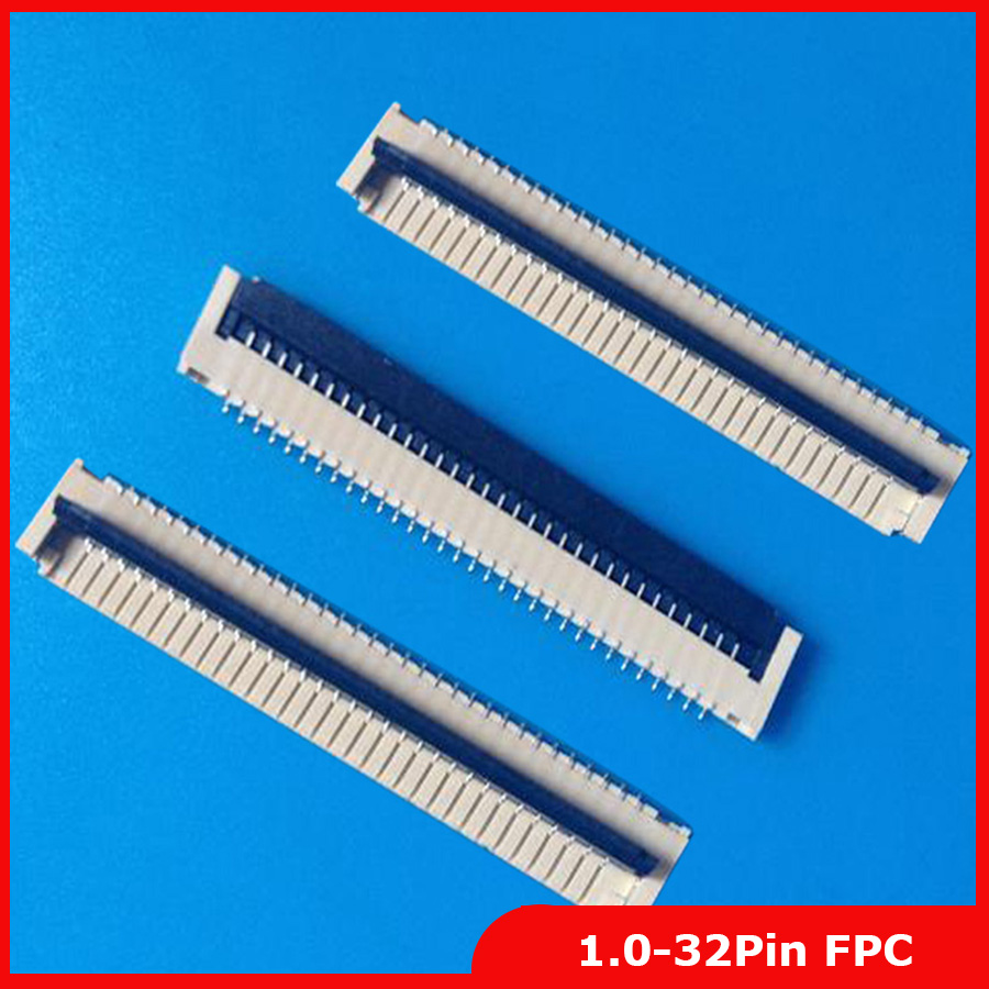 2pcs/lot FPC FFC Flat Cable Connector Socket 32pin 1.0mm Pitch For Laptop Keyboard Interface