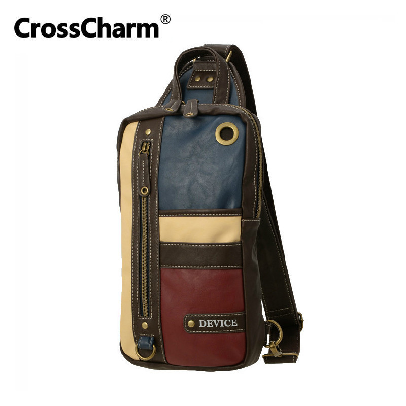 CrossCharm Male Handbag Microfiber Leather Crossbody Sling Messenger Bag Shoulder Chest Pack For Men Patchwork Panelled