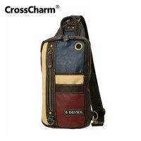 CrossCharm Male Handbag Microfiber Leather Crossbody Sling Messenger Bag Shoulder Chest Pack For Men Patchwork Panelled 40033