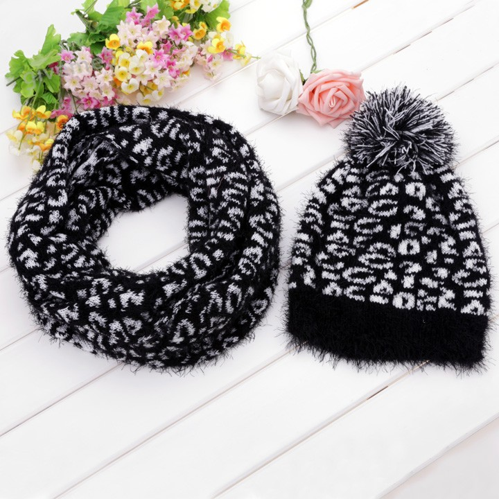 Women Winter Hat Set Knitted Caps Set Fashion Hats And Scarf 2pcs Leopard Grain Pattern Caps Scarf Free Shipping 18