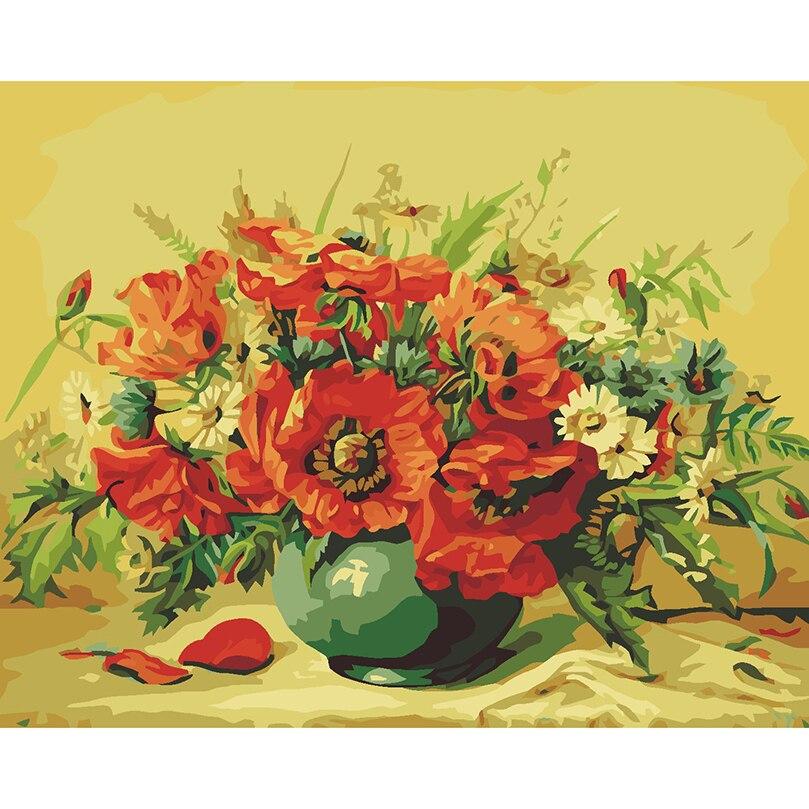 Poppy Merah Vas Bunga Gambar Menggambar Dengan Angka Mewarnai Oleh