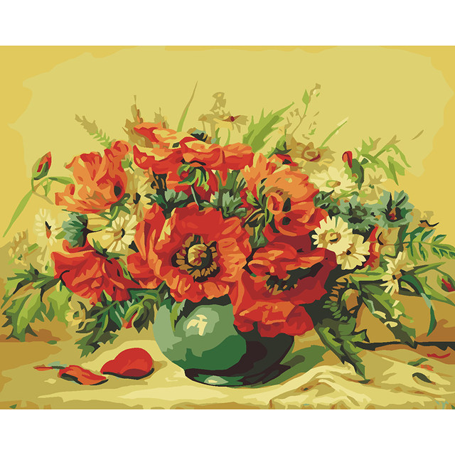 Online Shop Red poppy vase flower picture drawing by numbers ...