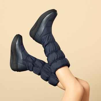 MORAZORA Plus size 35-44 new fashion winter snow boots platform shoes footwear mid calf women boots solid color zipper white