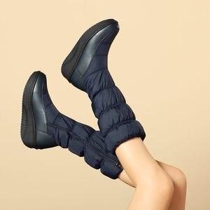 Image 3 - MORAZORA artı boyutu 35 44 yeni moda kış kar botları platform ayakkabılar ayakkabı orta buzağı kadın botları düz renk fermuar beyaz