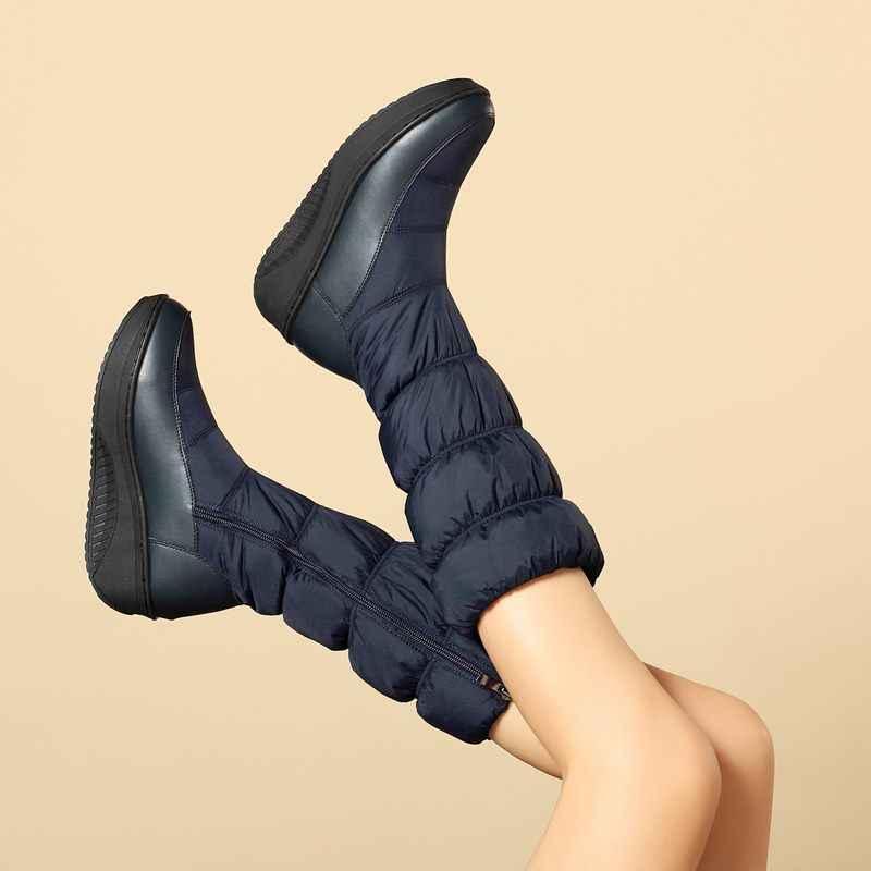 Morazora Plus Size 35-44 Mới Thời Trang Mùa Đông Ủng Giày Đế Giày Giữa Bắp Chân Giày Bốt Nữ Màu Trơn dây Kéo Trắng