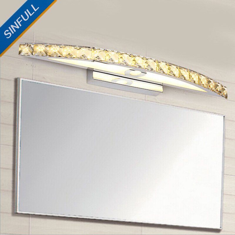 Modern Crystal LED Mirror Light Makeup Room High Quality 10W 15W Stainless Steel Wall Lamp Luxury Home Indoor Lighting Sconces 2014 high quality new inventions crystal magic mirror lightbox led