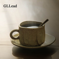 GLLead New Classical Handmade Drinkware Coffee Cup And Saucer Pottery Brief Ceramic Teaware Tumbler Pigmented Hand Grip Cup Gift