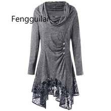 Большие размеры осенние женские блузки длинный рукав шарф воротник