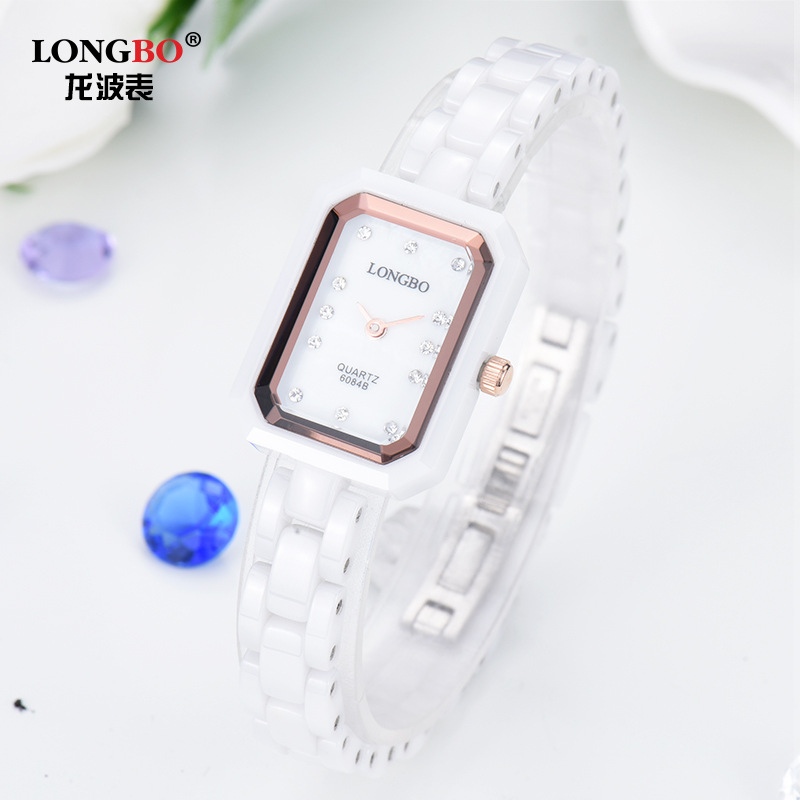 LONGBO High End Women S Watches Waterproof White Diamond Ladies Watch 6084 Students Really Korean Ceramics