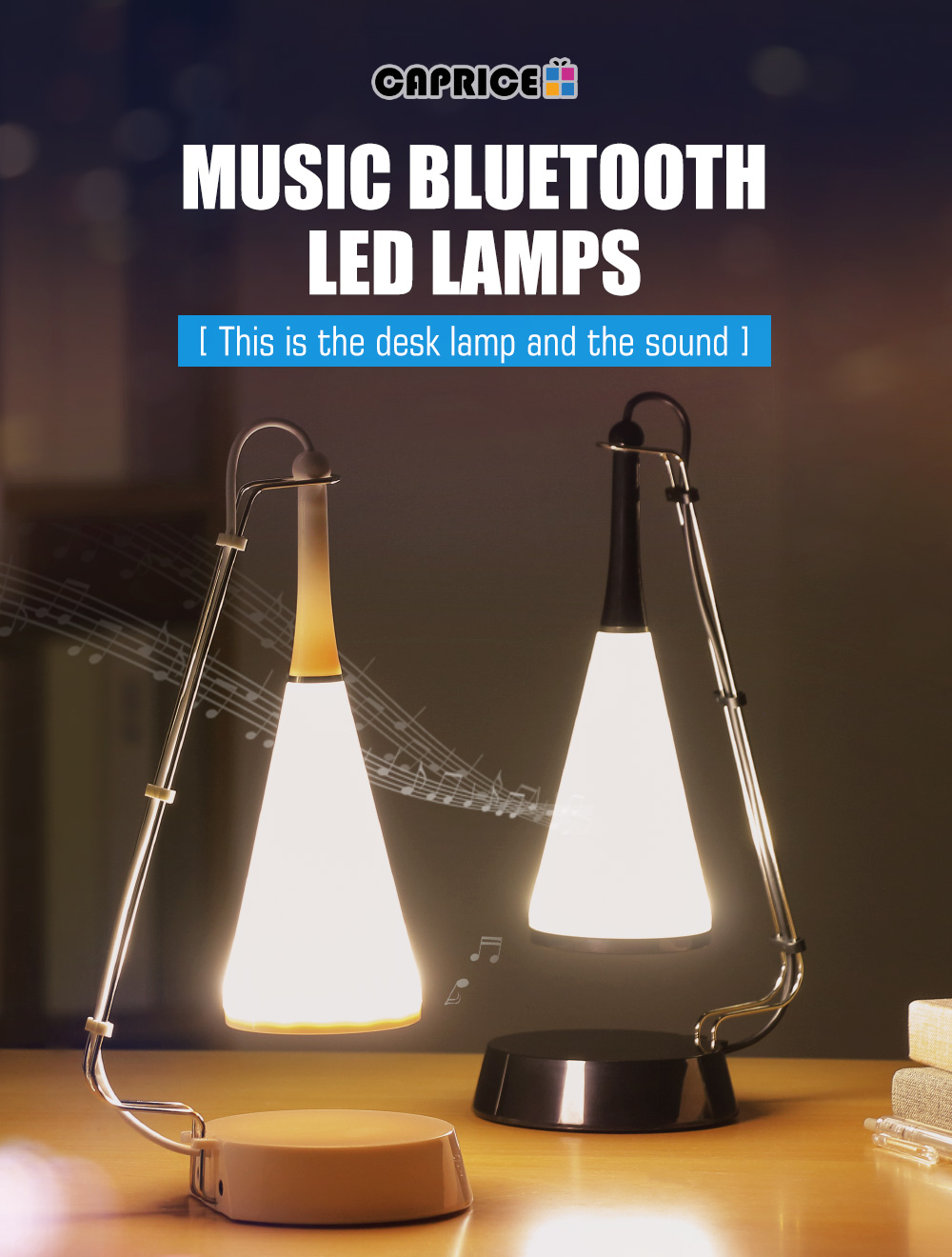 Chargeable Creative Dimmable Touch Sensor LED Table Lamp Music Desk Lamp 2-in-1
