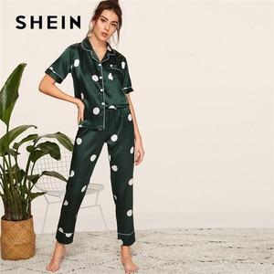 Image 4 - SHEIN In Satin Xuân Hè Bộ Đồ Ngủ Nữ Quần Áo 2019 Nữ Tay Ngắn Quần Dài Đồ Ngủ Áo Bỏ Túi Nữ Pyjama Set