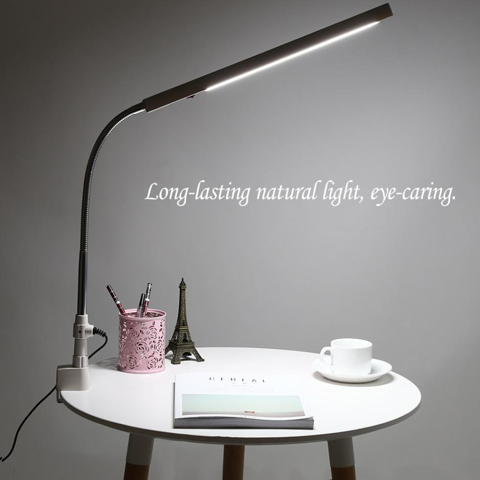 LED Nail Art Desk Lamp 360 Degree Rotation Ultra-Slim Metal Arm Eye-Caring Office Cold Light Tattoo Nail Art Table Lamp White