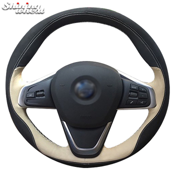 Shining wheat Black Leather Car Steering Wheel Cover for BMW 220i 218i 225xe