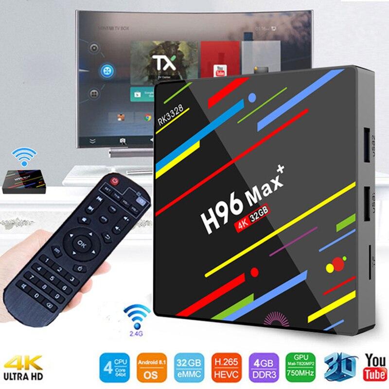 Android 8.1 smart tv box H96 MAX 4 gb ram 32 gb rom lecteur multimédia Quad Core 4 K HDR10 USB 3.0 H.265 décodeur WiFi 2.4G décodeur