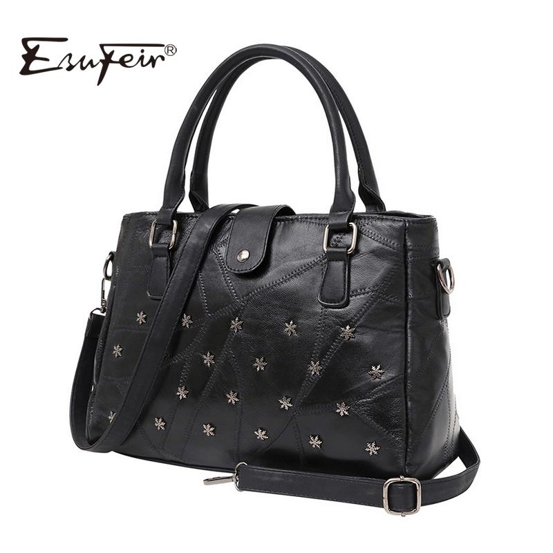 Prix pour Esufeir marque véritable cuir femmes sac à main composite sac en peau de mouton rivet patchwork femmes épaule sac bandoulière sac de mode