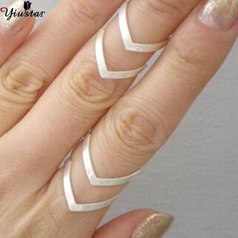 Yiustar Fashion Letter Ring Double Alphabet Women Rings Bobo Style Punk Geometric V Finger Bague Femme Jewelry Men Anillos Gifts