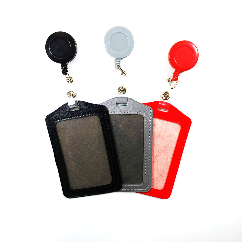 Black Red Grey Bank Credit Card Holders Card Bus ID Holders Identity Badge with Retractable Reel wholesale