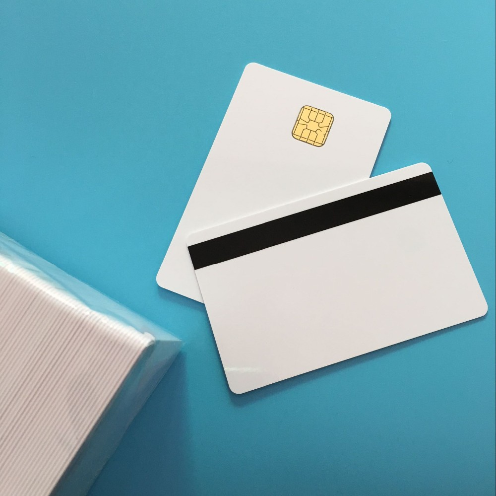 White SLE4428  Big Chip 2 Track Hi Co Magnetic Stripe Smart Contact IC Chip Composite IC Card 200PCS