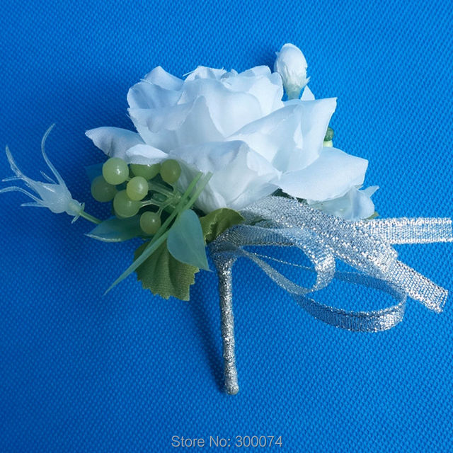 2pc Silk Wedding Boutonniere For Groom Or Groomsmen Artificial Rose Bud Brooch Decorative Flowers Corsage