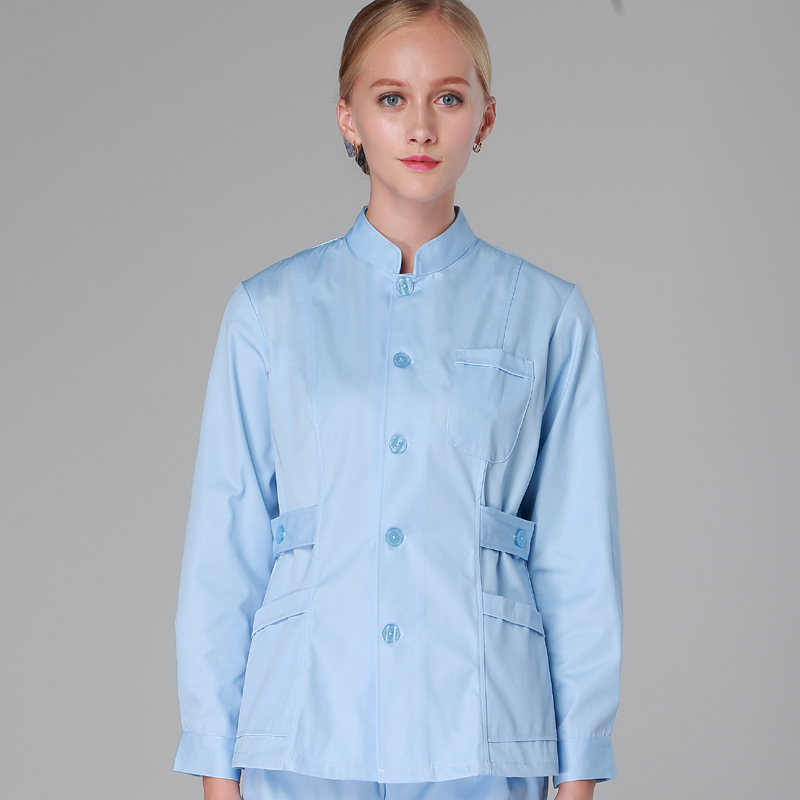 Nursing suit split suit long-sleeved men and women white coat oral dentist beauty salon overalls Two-piece set knitting