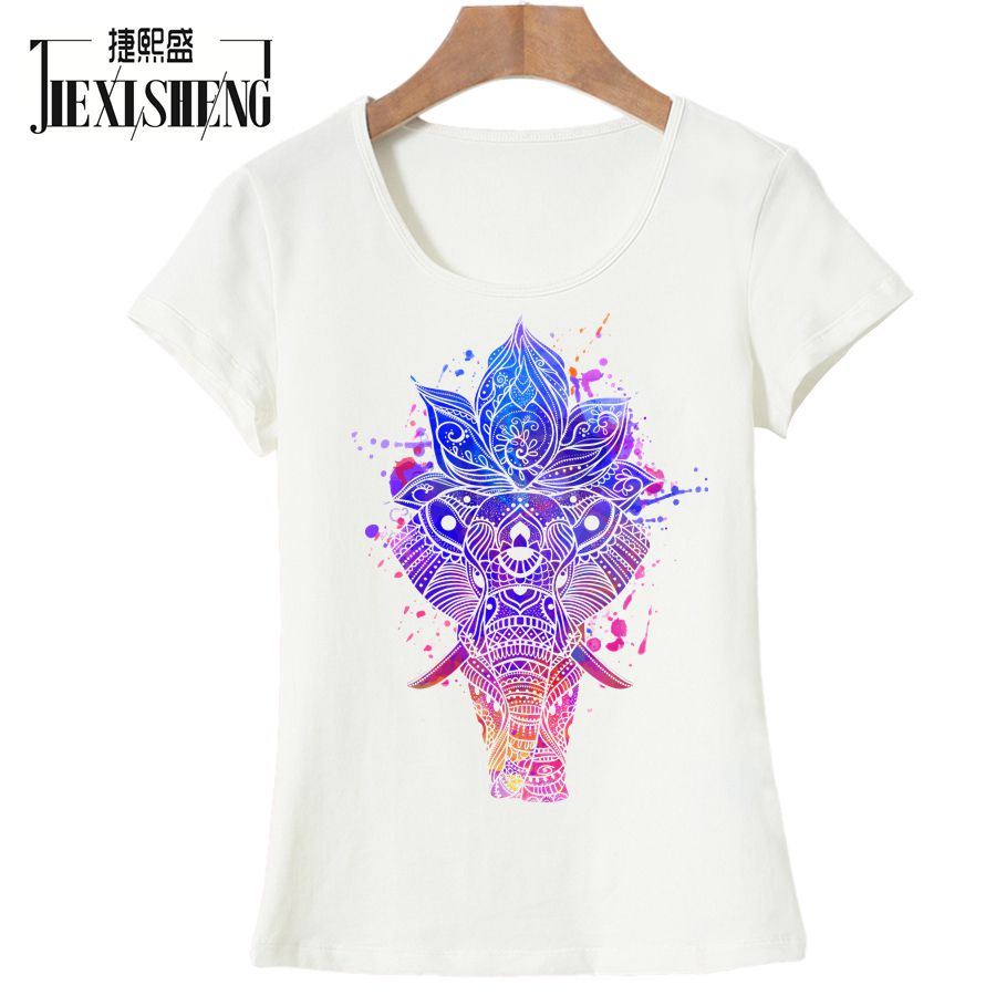 Summer Women T Shirt Originality Psychedelic Elephant Print Female T-shirt Cool Casual Short Sleeve Womens Clothing Tops Tees