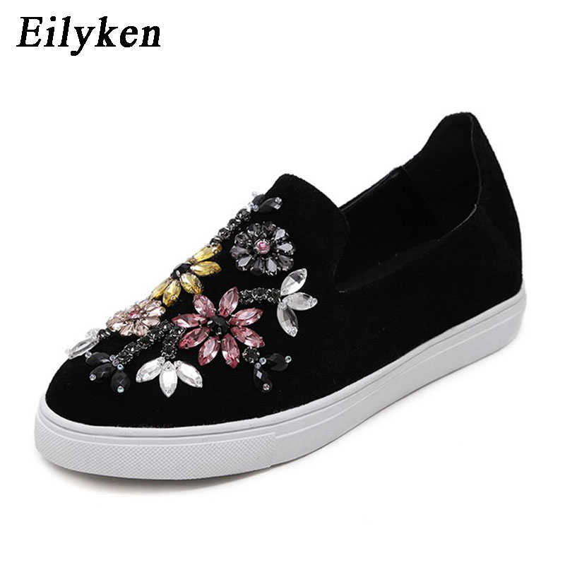 Eilyken Autumn Women Shoes Flat 2018 Round toe Crystal Comfortable Women Slip On Women's Shoes Loafers Casual Flat shoes ygf platform loafers women flats spring autumn casual shoes slip on canvas women comfortable round toe flat loafer shoes