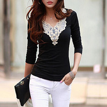 2016 women's fashion Hollow lace collar Slim casual Long Sleeve shirt sexy V-neck embroidered tops