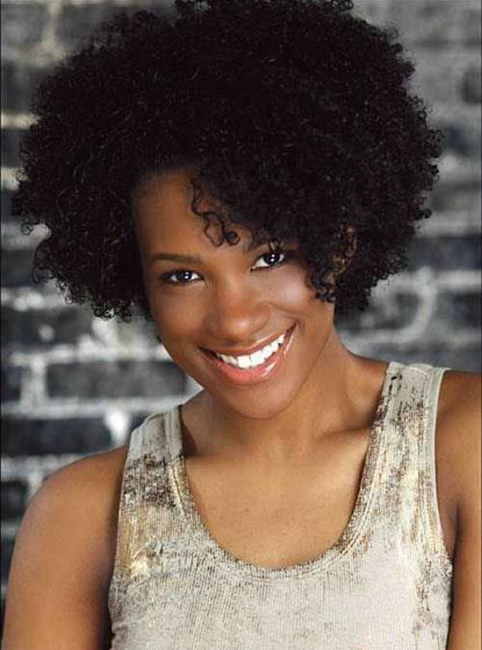 African American Short Jet Black Kinky Curly Human Hair Lace Front